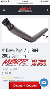 "94-01 cummins mbrp down pipe 4"" new Middle Island, 11953"