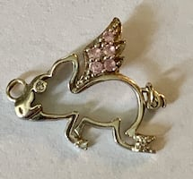 Sterling Flying Pink Sapphire Pig Charm