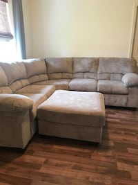 gray suede sectional couch with ottoman Cape Coral, 33914