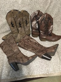 Three pairs of assorted-color-and-type boots 996 mi