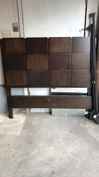 Brown wood double bed