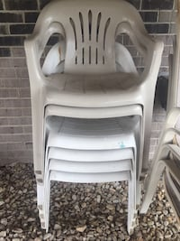 Plastic outdoor chairs 4-white 2-tan Homer City, 15748