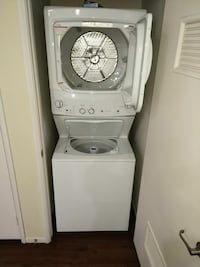 Gas GE white stackable washer and dryer set