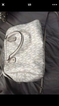white and gray monogrammed Coach leather crossbody bag Placentia, 92870