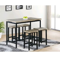 Natural top w/black  pub table w/ 4 pub chair(NEW) Milpitas, 95035