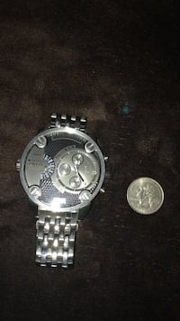 Round silver-colored chronograph watch with link bracelet Calexico, 92231