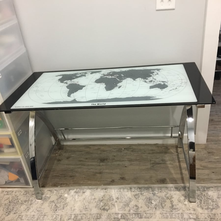 World glass map desk