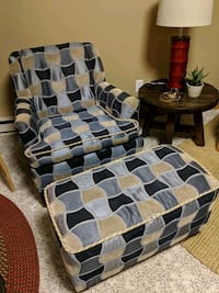 Blue accent chair with ottoman Fargo, 58102