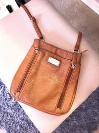 Brown leather crossbody bag with tassel Ringgold, 30736