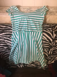 Women's white and teal stripe dress