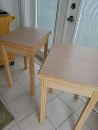 2 Beautiful Tall Solid Wood Formica Topped Tables