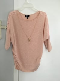 """Ladies/Juniors """"by by""""Pink Necklace Jewelry Sweater"""