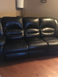 Three seater black leather couch Calgary, T2A 7B7