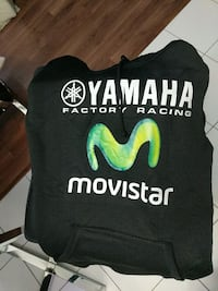 black and white Yamaha Factory Racing Movistar pullover hoodie