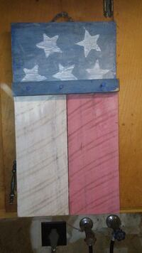 blue, white, and red flag print wooden hook