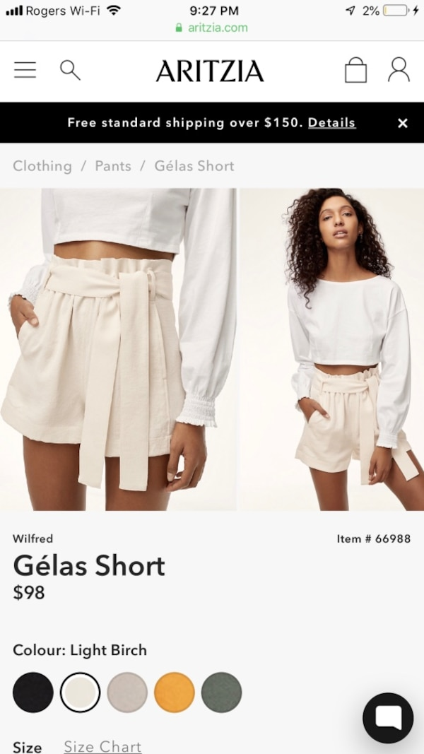 NEW Aritzia Wilfred Gélas Shorts 00
