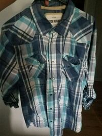 blue and white plaid button-up shirt Kenosha, 53142