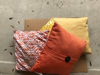 Orange and white floral textile pillows Houston
