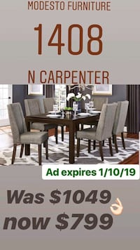 brown wooden dining table with chairs Modesto, 95350