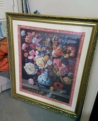 large flower print art in glass and gold frame  Boynton Beach, 33426