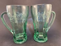 VTG Coca Cola Mugs Glasses  2 Handled Heavy Green Glass By Libby
