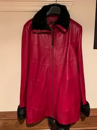Danier Red Leather jacket with fur accents