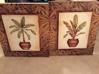 Two green leaf plant canvas paintings with brown frame from kirkland's.