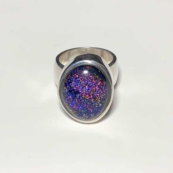 Vintage Sterling Silver Dichroic Glass Ring 8