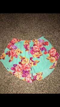 teal and multicolored floral shorts