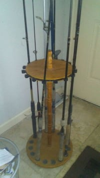 Fishing Rod Holder and 8 Fishing Rod's