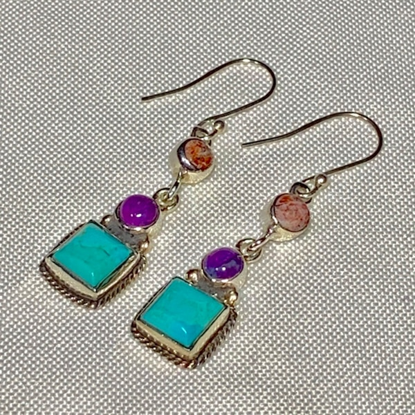 Genuine Navajo Sterling Silver Turquoise Earrings 5985ba11-0c9f-4c34-a386-a2d364b29bdb