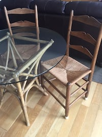 Bistro glass top table & 2 chairs. Set is in great condition from a pet free, smoke free home   Halifax, B3J 3Z2
