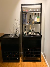 Crate and barrel leaning wine cabinet and rolling wine cart  Vienna, 22181