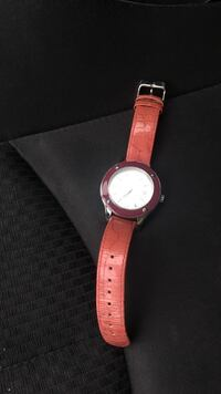 Anne Klein watch with pink leather strap. Diamond embellishments  Dover, 19901