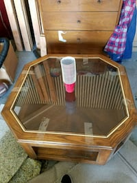 brown wooden framed glass top side table Anaheim