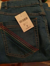 High Waisted Blue Jeans Bell Bottoms Rainbow Stitching Back Pocket London, N5Y 1J3