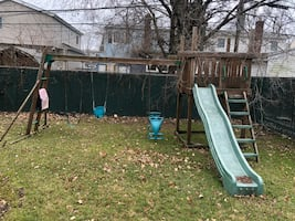 Playground set 18 ft wide. You will have to disassemble and remove.