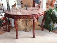 Marble top and Wood Carved Table Richmond