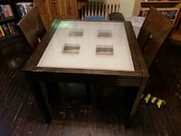 All wood with glass top kitchen table two chairs Thorold, L2V 3M4