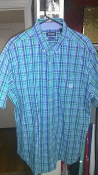 blue and white plaid button-up shirt Las Cruces