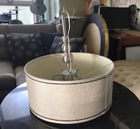 Tan and silver round chandelier