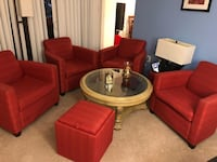 red fabric sofa set with coffee table Silver Spring, 20902