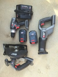 black and red cordless power drill