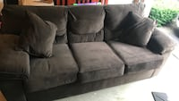 Brown suede pull out bed couch with throw pillows Farmingdale, 07727
