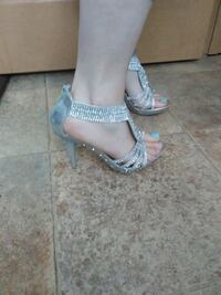 pair of gray open-toe ankle strap heeled sandals Vaughn, 59487