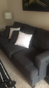 black fabric 3-seat sofa