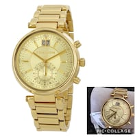 round gold Michael Kors chronograph watch with link bracelet
