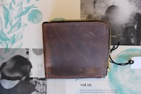 Locally made brown leather bi-fold wallet with zipper new Birmingham, 35210