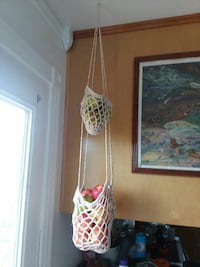 Hand crafted fruit and vegetable hanging baskets.  Loudon, 37774
