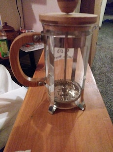 brown and clear glass container